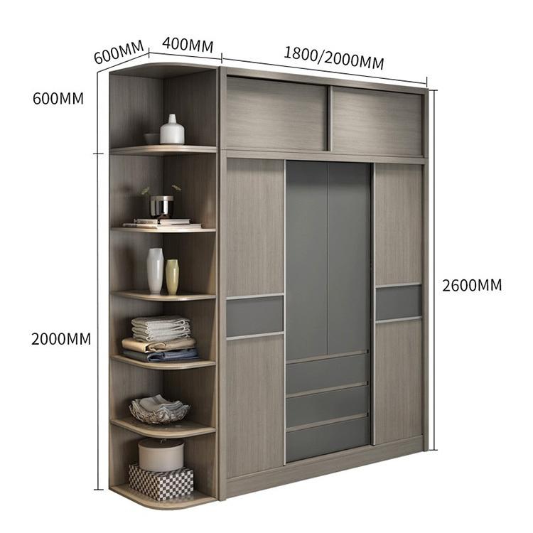 Particle Board Sliding Door Closet Wardrobe Furniture Wooden