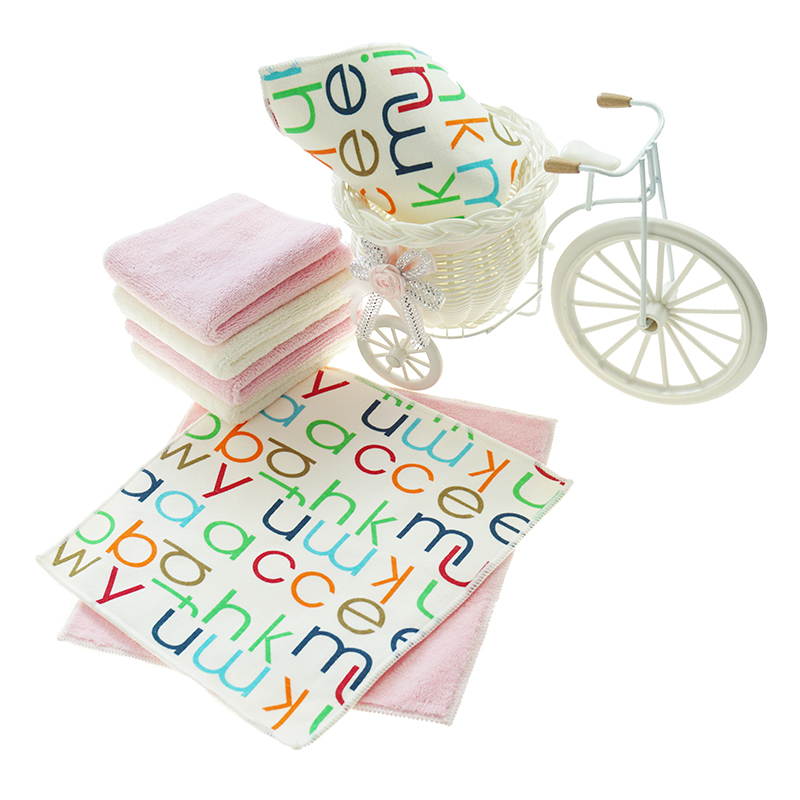 customized design The lettershigh quality microfiber fabric coral fleece Hand Towel baby hand towel
