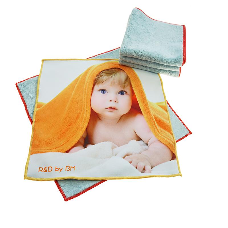 Custom baby head print baby face towel microfiber coral velvet baby towel