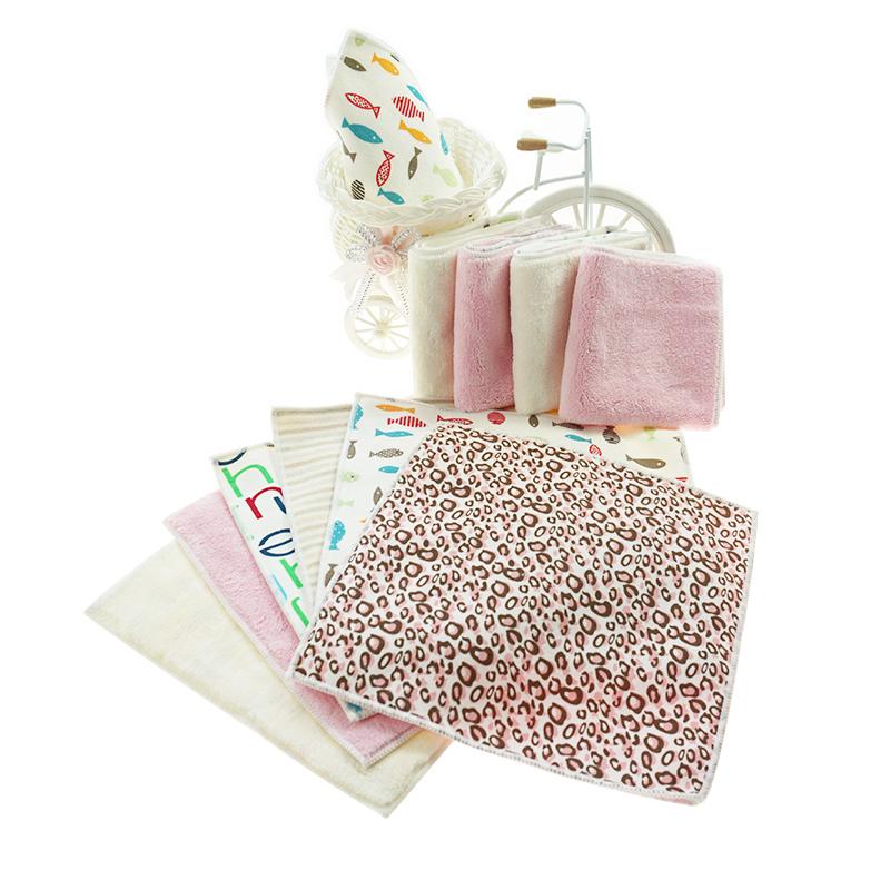 Hot selling customized design logo Leopard grain microfiber fabric coral fleece Hand Towel baby face towel