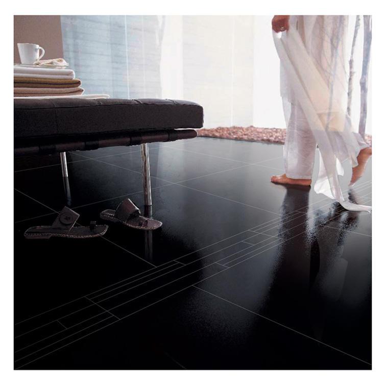 Black glitter ceramic floor tiles