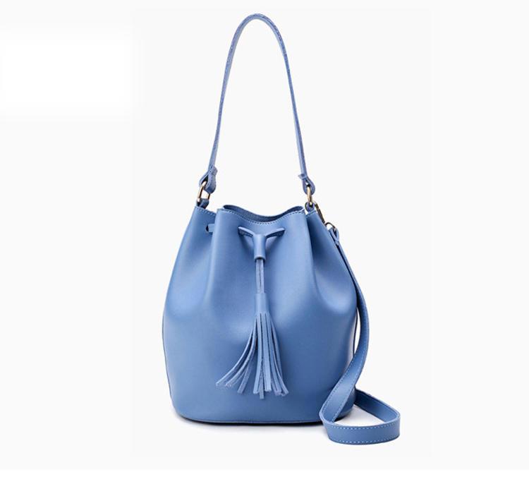 Women PU Leather String Shoulder Bag ladies Casual Crossbody Soft Bucket Bag