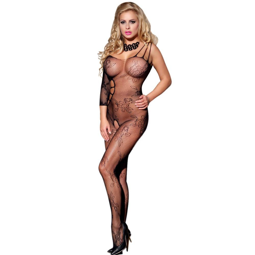 Amazon Floral crotchless bodystocking women sexy design with single sleeve