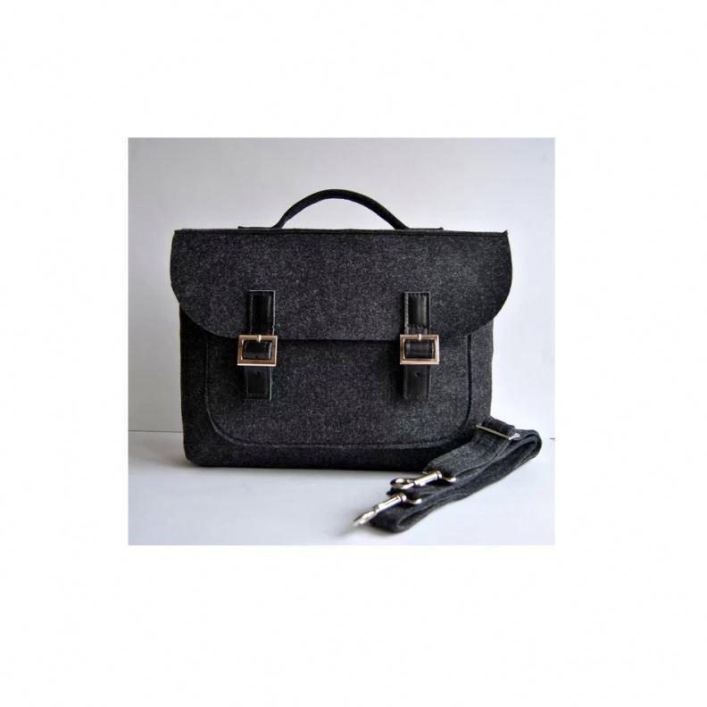 China Supplier Pure Color Felt messenger handbags for men vintage school business man removable strap laptop briefcases man