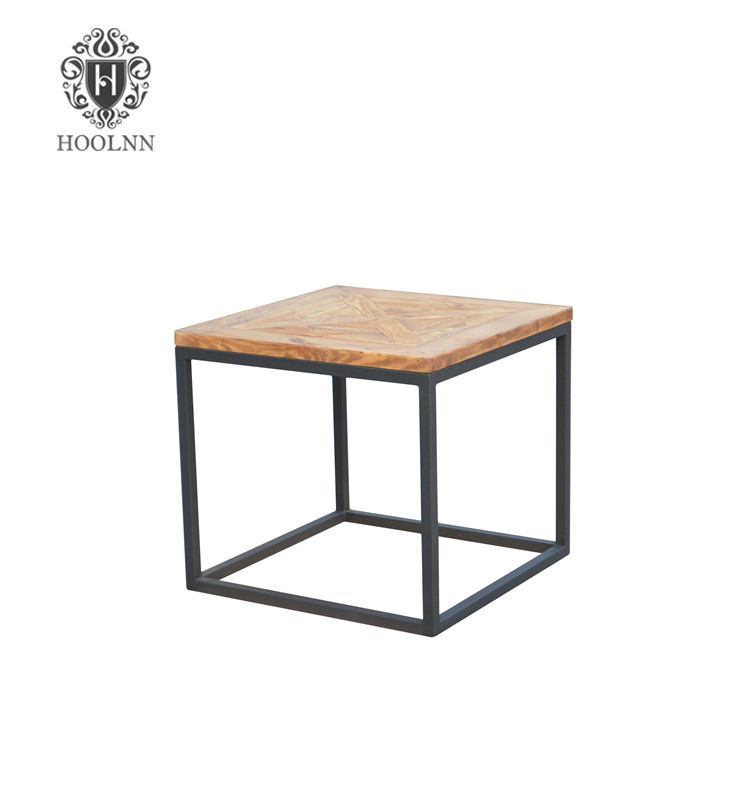 French Country Iron Frame Wood Side Table E10-60