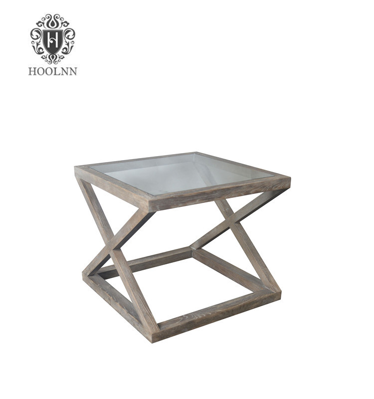 Valencia French Style Oak Side Table with Glass Top HL360