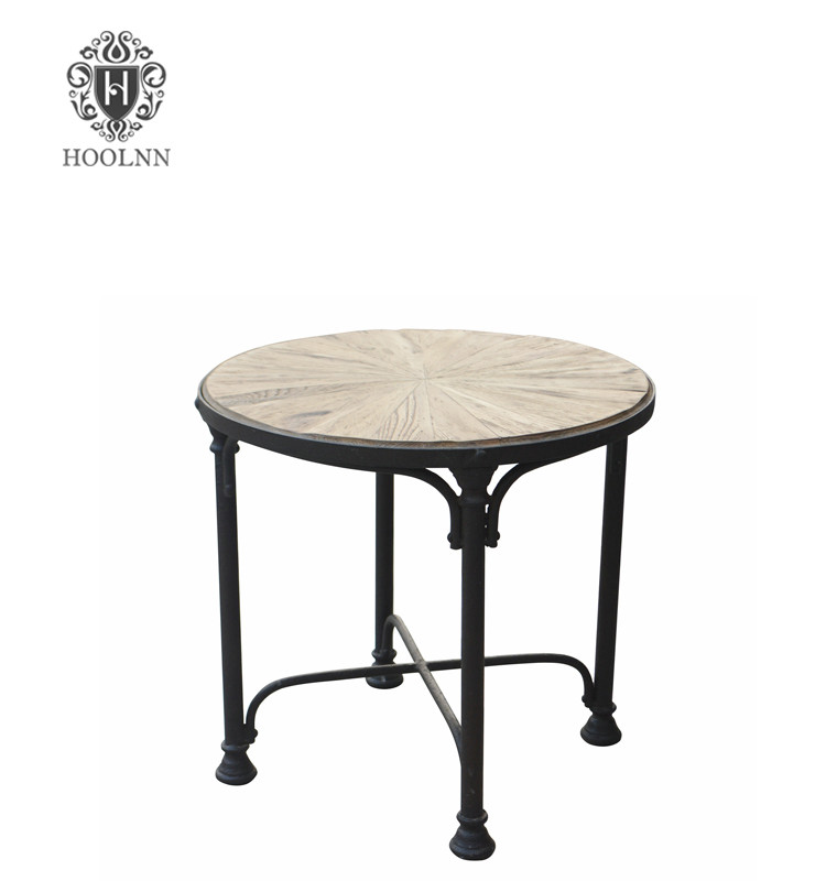 French Industrial Iron Frame Side Table with Recycled Wood top HL401