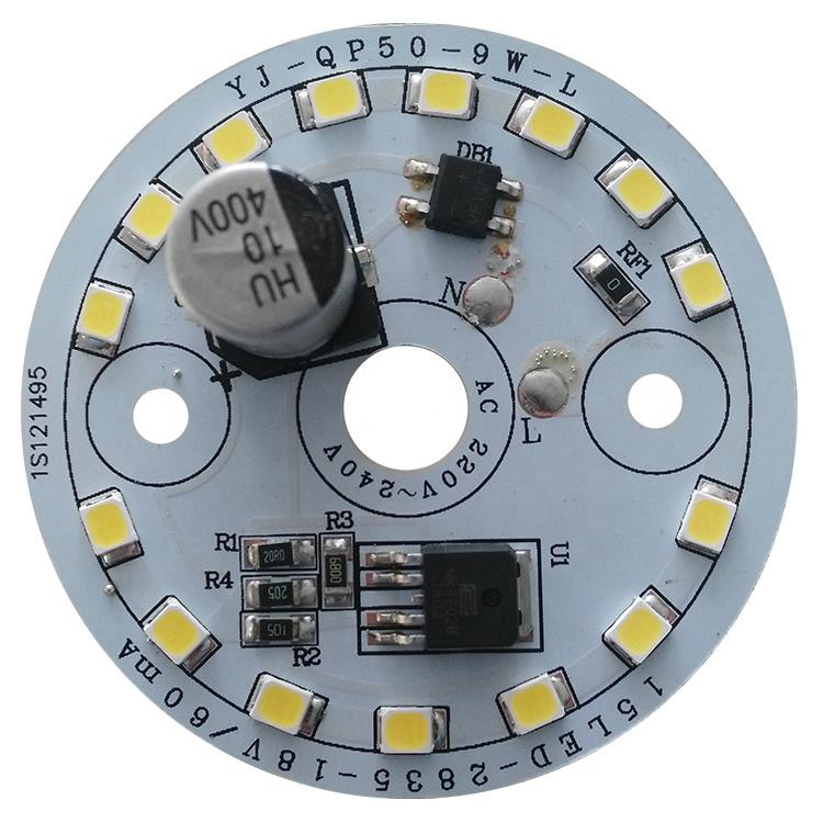 100lm/W 9W Ra 80 CE RoHs certification ac 220V dob driverless non-flickering led module pcb pcba for LED Downlight and Bulblight