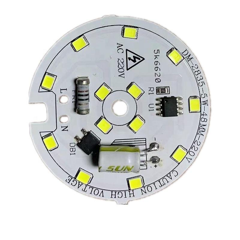 No Flickering 5W 104Lm/W220v AC driverless dob led module round smd pcb pcba boardfor bulb light and downlight