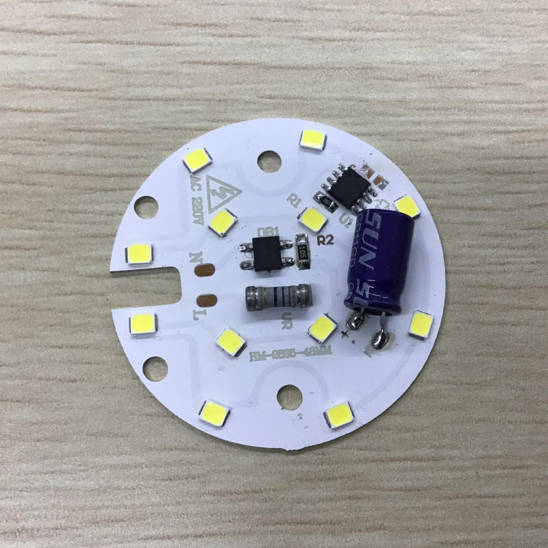 Consumable 5W 48mm Diameter 90lm/W smd 2835 220V AC driverless dob led pcb board for bulb light and downlight