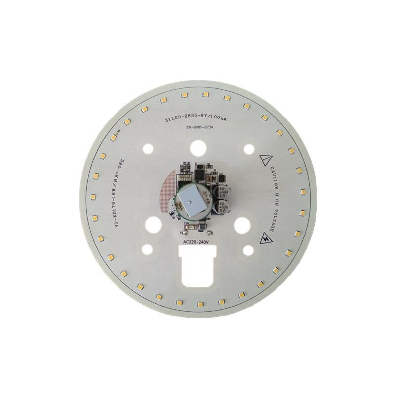 123lm/W 18W 3years warrantyCE RoHS Certification 220V ac input voltage round smd led module pcb pcba for LED Ceiling light