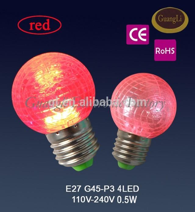 Popular night light decoration in door color bulb e27 b22 g40 g45 0.5w led bulb plastic housing many colors for choices