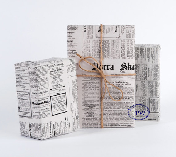 Vintage Swedish Newspaper design Wrapping Paper gift wrap