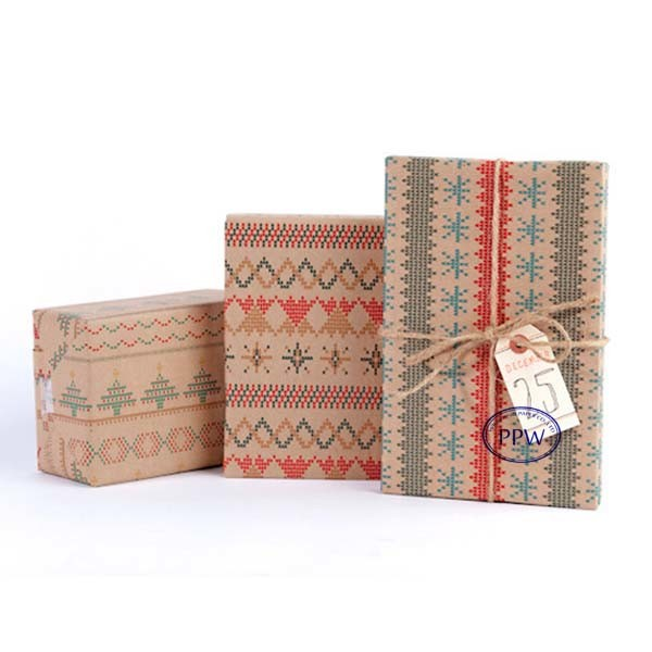 Unbleached virgin wood pulp kraft wrapping paper for packaging