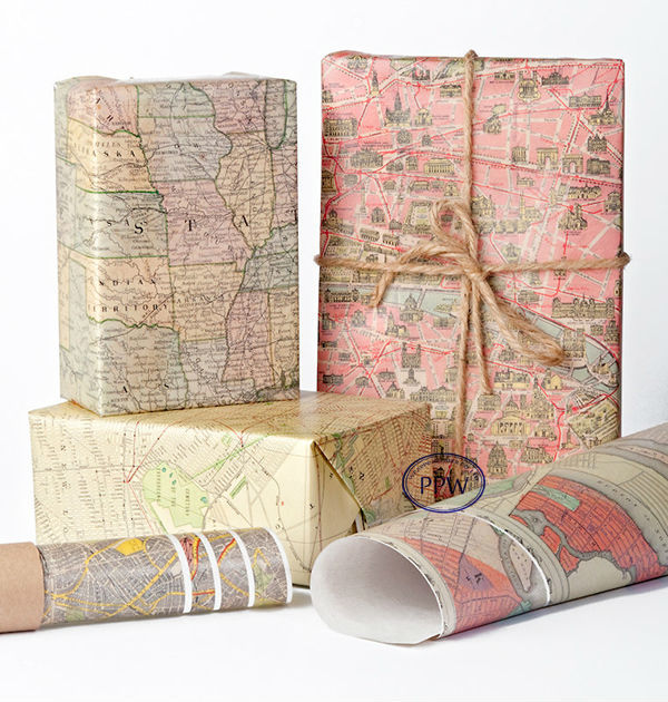 Wrapping paper Holiday Historic Maps Paper