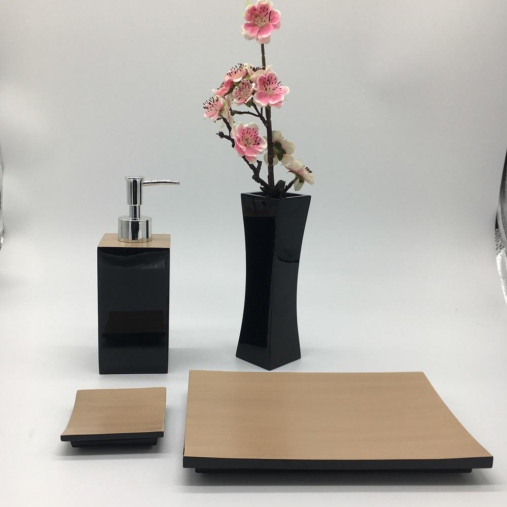 Black Polished Hotel Supply Bath Polyresin Accessories Vase