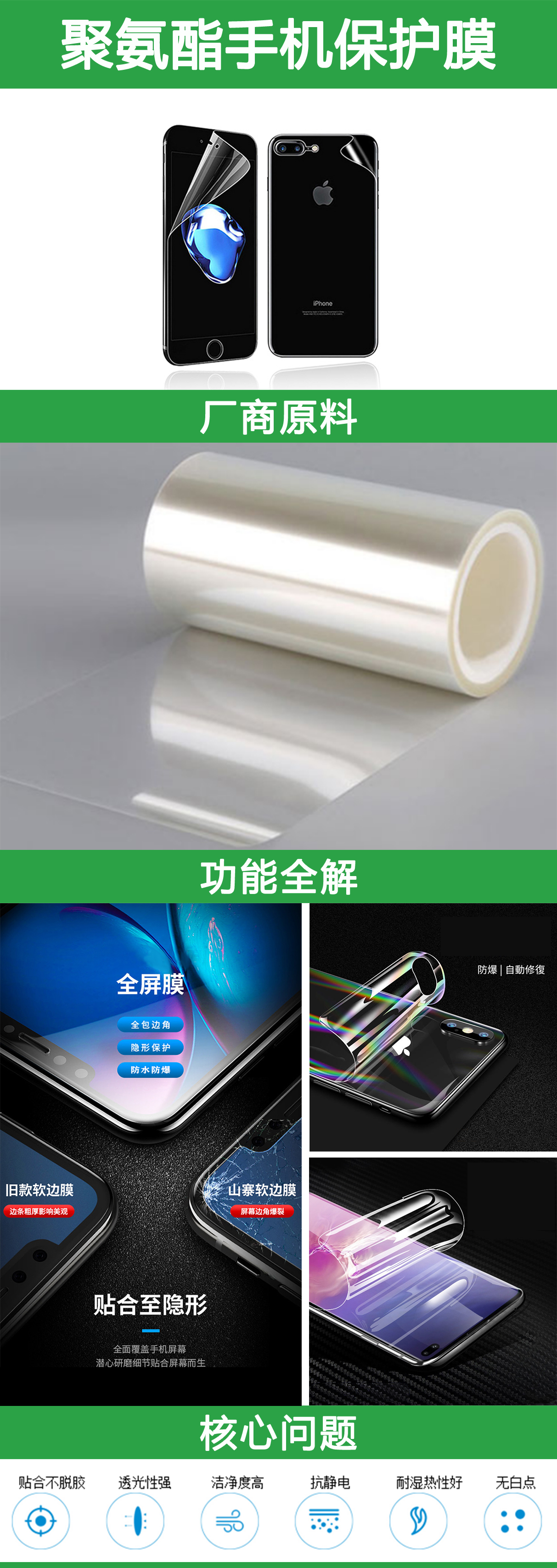 auto repair Soft hydrogel TPU screen protection film for mobile phone