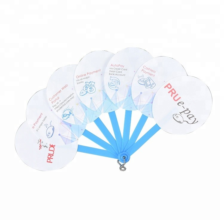 Durable Advertising PP Hot Sale Custom Plastic Hand Folding Fan