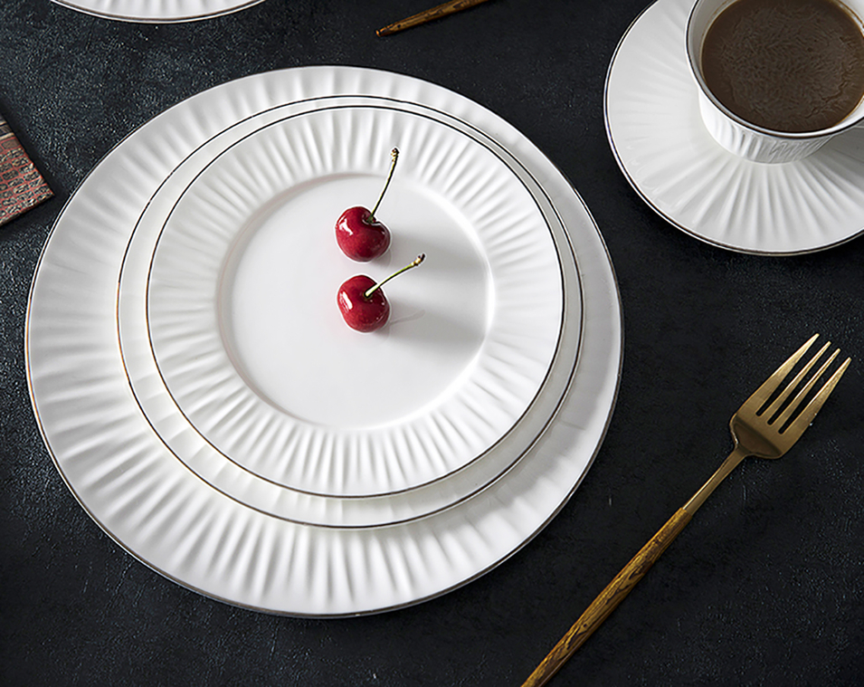 Bone China Silver Rim Dinner Set, Luxury Gold Banquet Crockery Dinnerware, Hotel & Restaurant Royal Dinnerware Set Porcelain/