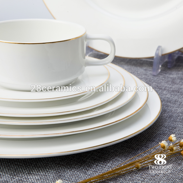 brilliant high quality european style hotel bone chinagold rim dinnerware set
