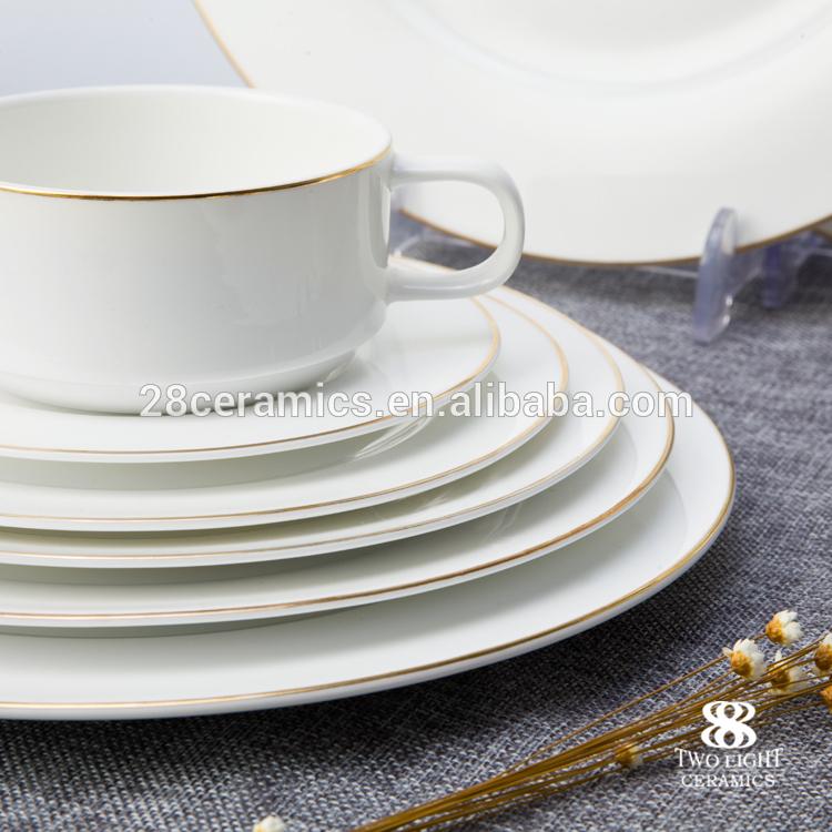 brilliant high quality european style hotel bone chinagold rim dinnerware set