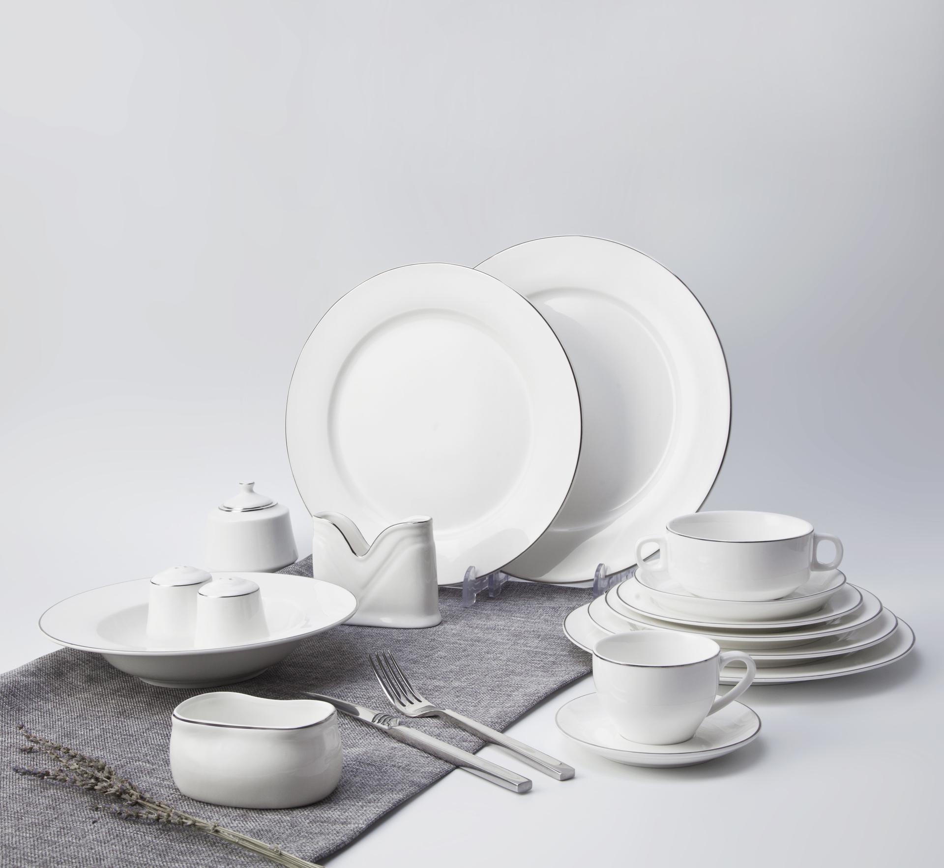 Saudi arabia market Luxury rose Gold Rim hotel fine bone china ceramic dinner set