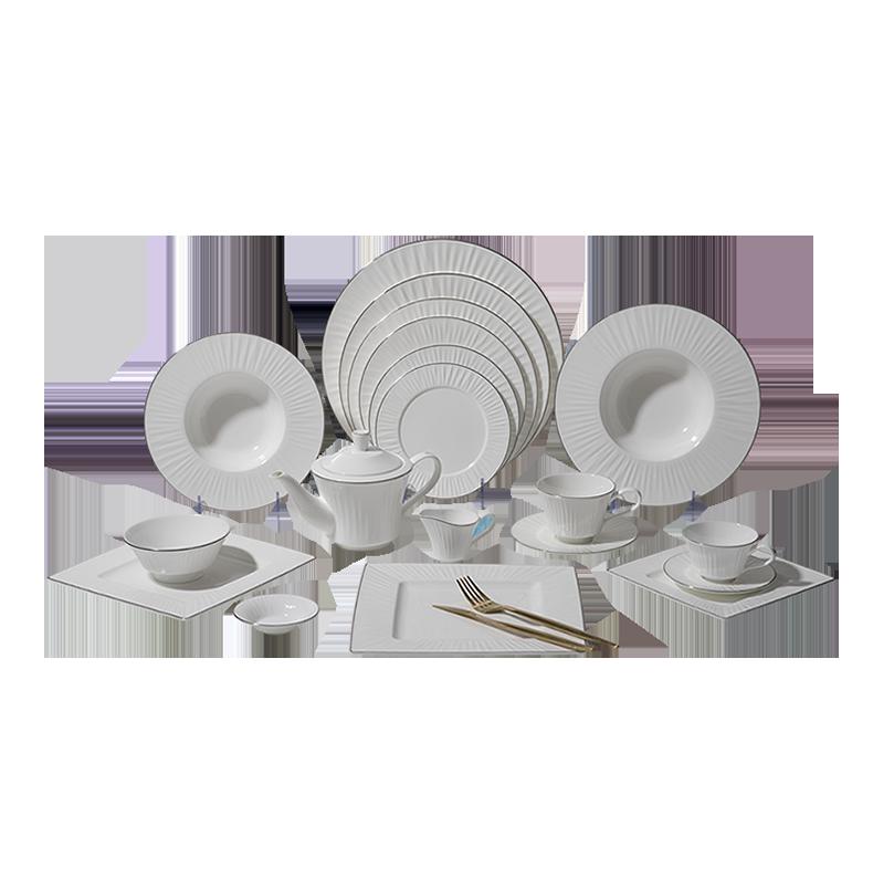 European Bone China Dinnerware Set Dishes, Round Dinner Table Set, Durable Fine Bone China Dinnerware>