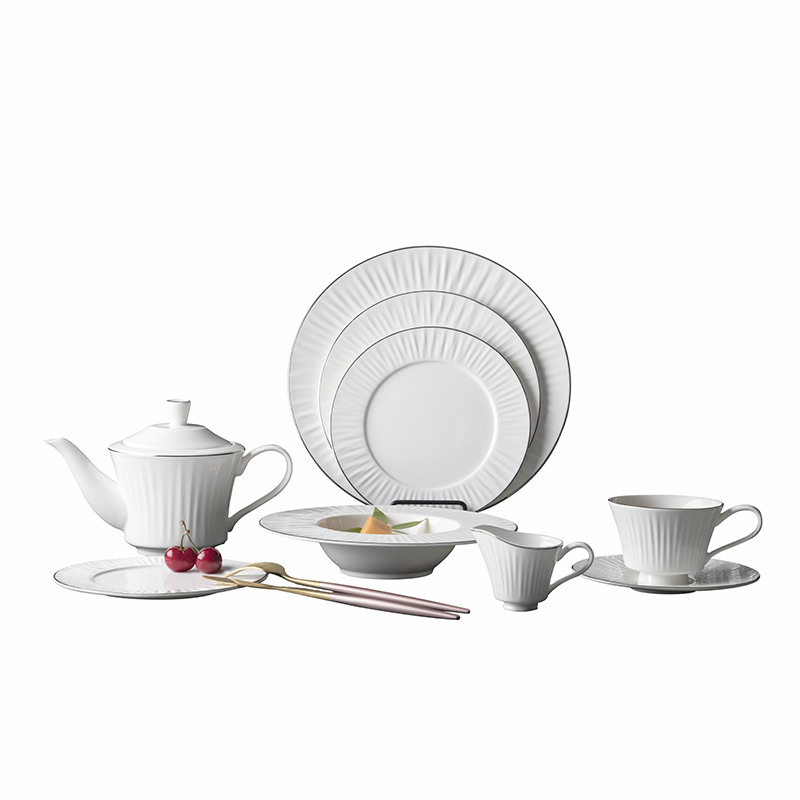 Expensive Silver Rim Luxury Dinner Set, Bone China Crockery for Hotel, Elegant dinnerware sets~