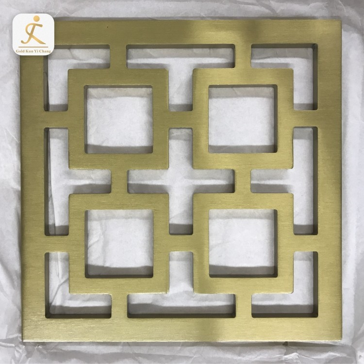 High Quality Custom Design Gold Brushed Stainless Steel Laser Cut Room Divider Metal Room Partition