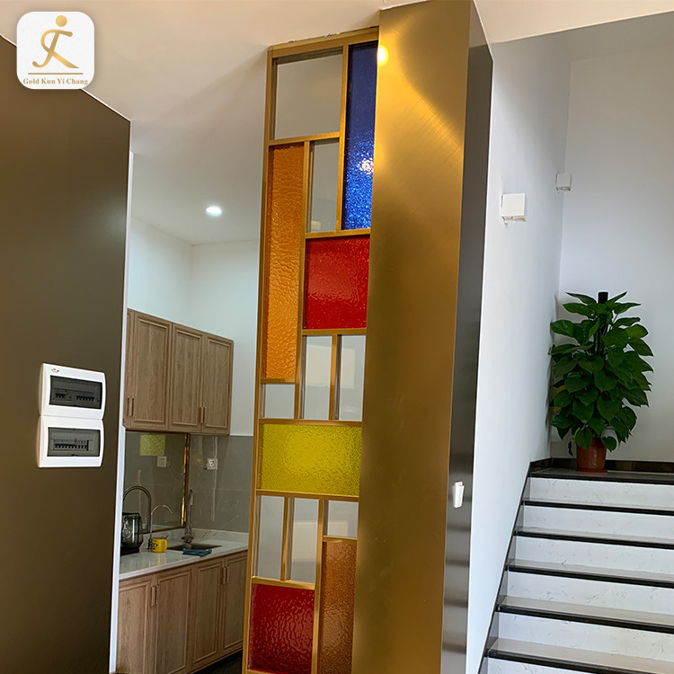 304 201 Stainless Steel Room Full Height Divider Screen Partition Color Patchwork Combination Thin Decorative Room Partition