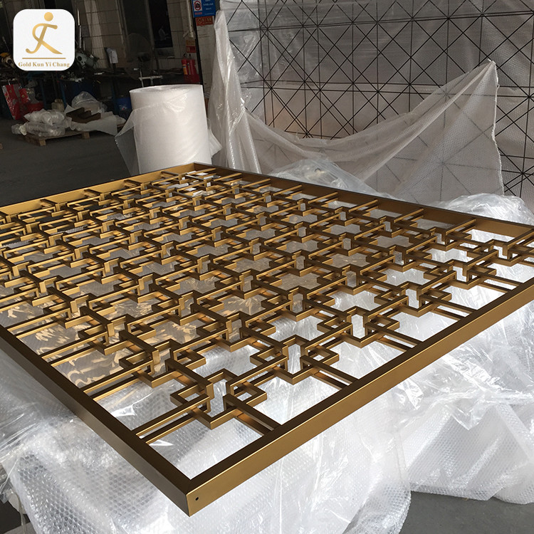 commercial room dividers partitions middle height rectangle lattice design brushed gold stainless steel divider partition