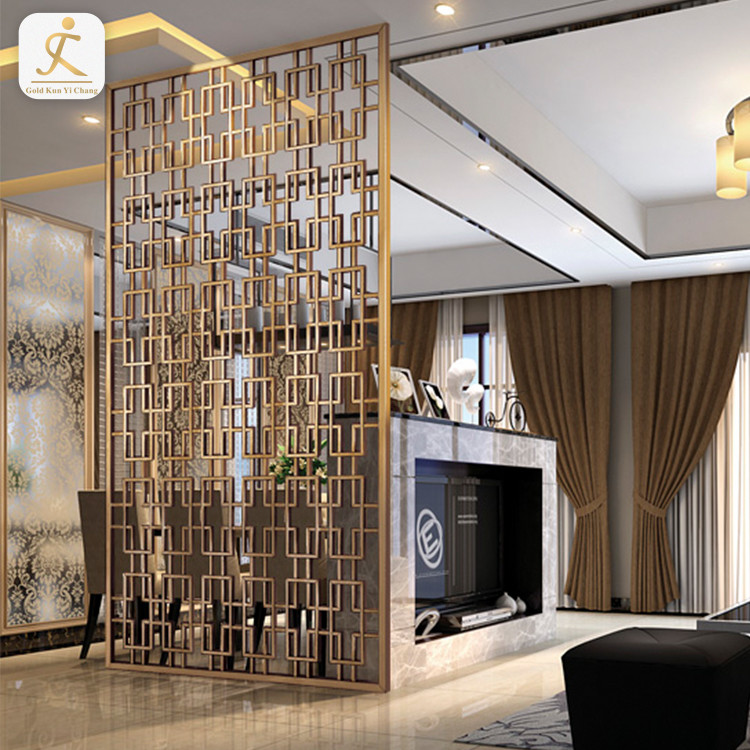 Decoration Stainless Steel Laser cut free standing room partition metal Screen Freestanding Room Divider