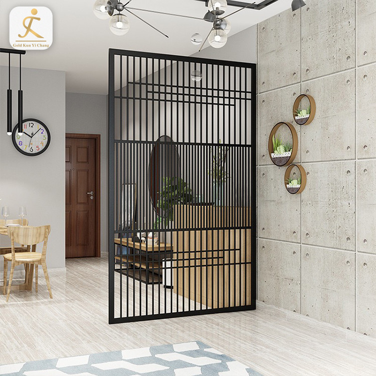 Customized decorative stainless steel black metal living room partition screen hotel restaurant free standing room divider