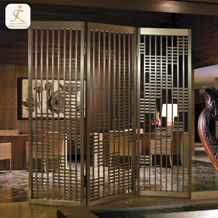3 panel lattice design fordable dining room divider partition stainless steel metal folding freestanding screen room divider