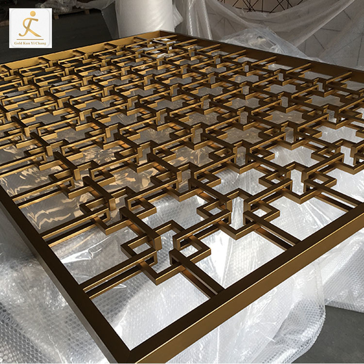 Professional custom 3D luxury design gold metalstainless steel screen for living room divider furniture