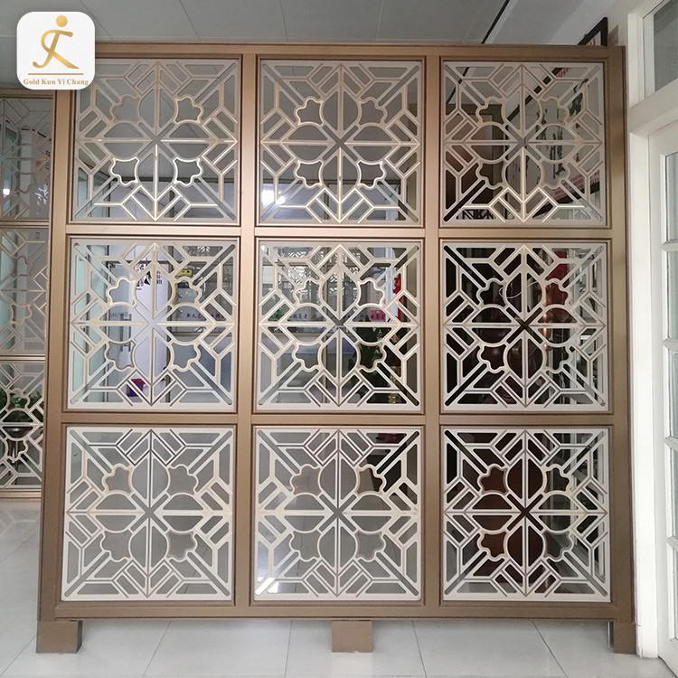 customized size design floor to ceiling room screen divider aluminum laser cut fixed metal art decor room divider partition