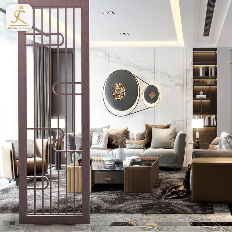 home art laser cut metal screen partition customized luxury gold stainless steel decorative hotel room divider partition
