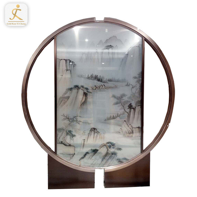 Chinese antique painting customized laser cut garden screens room dividers round look stainless steel balcony divider screen
