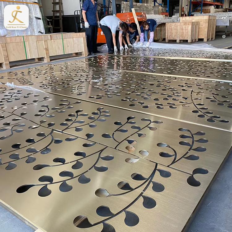 Professional custom laser cutting leaf shape stainless steel screen metal room divider golden screen