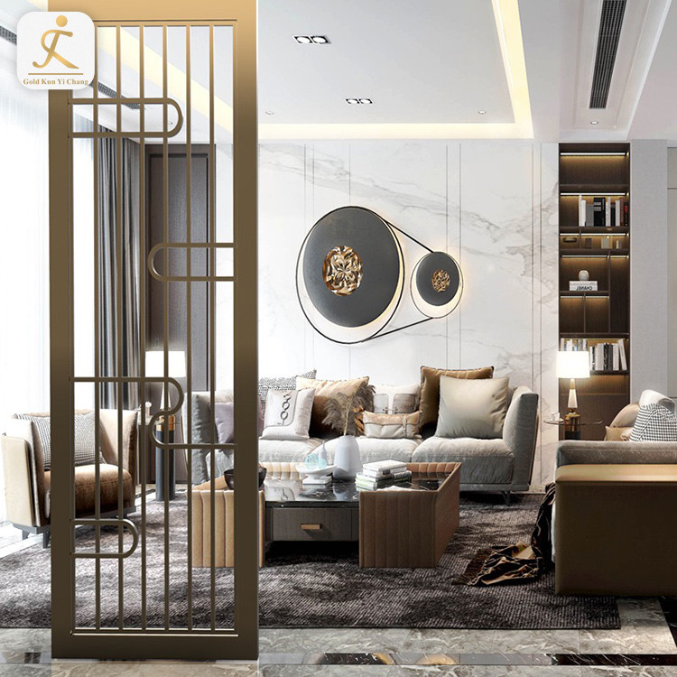 Living Room Freestanding Wall Panel Divider High End Customized Metal Stainless Steel Room Partition Designs