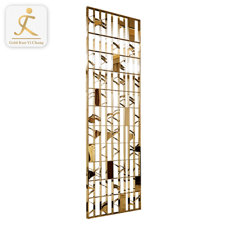 Interior design laser cutting golden mirror polished Stainless steel screen customized room divider