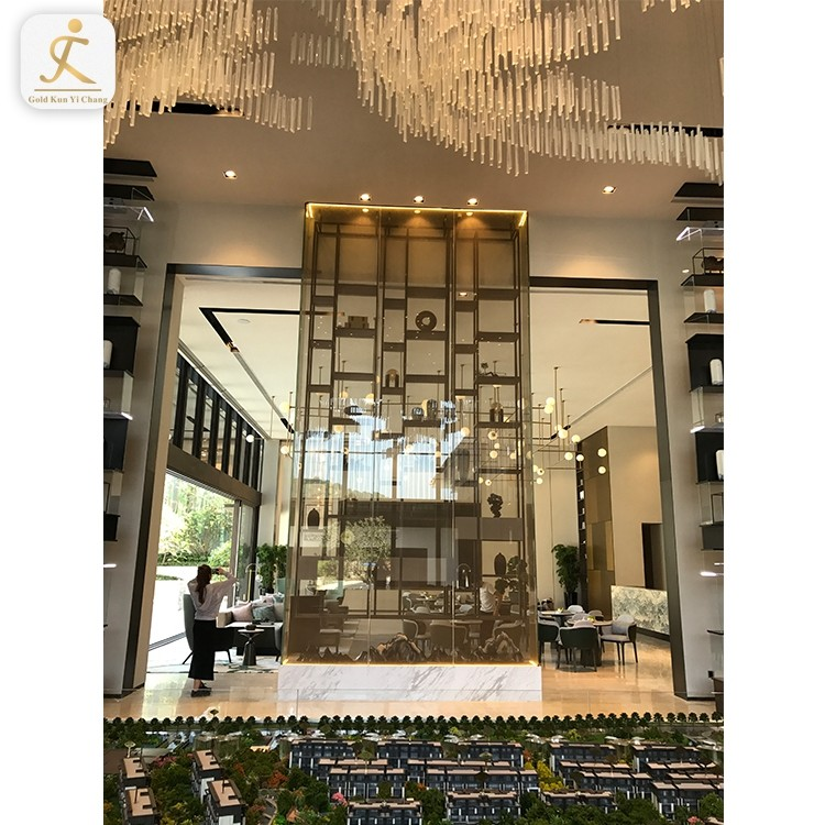 Modern restaurant lobby decorations water wall room dividers stainless steel huge panel wall partition divider