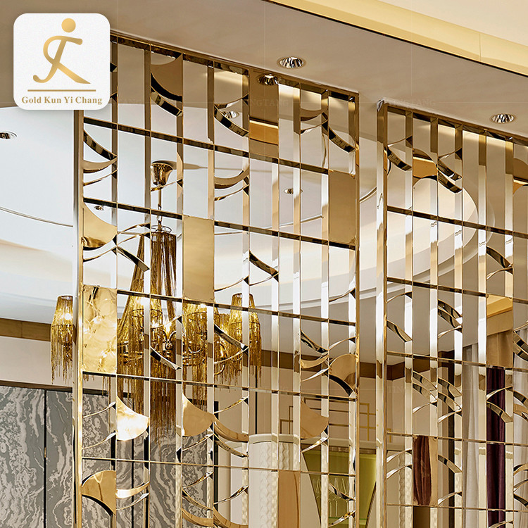 Metal Panel Sheet Screen Design Decorative Gold Interior Room Divider Stainless Steel Partition Room Screen Divider