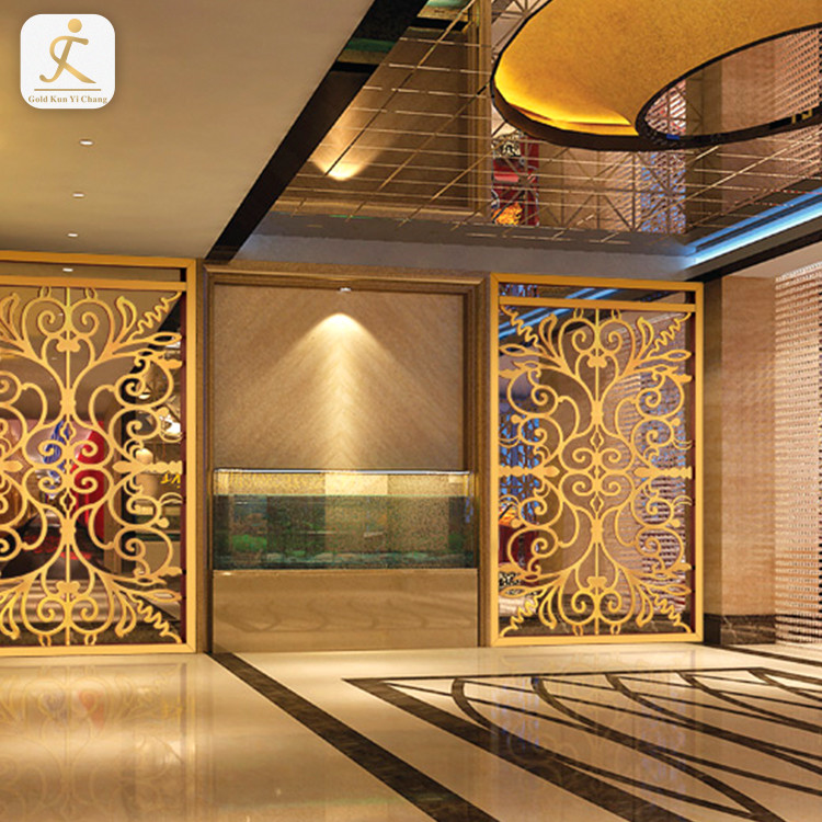 hotel hall fixed art decorative laser cut metal screen divider beautiful design stainless steel decorative partition screen
