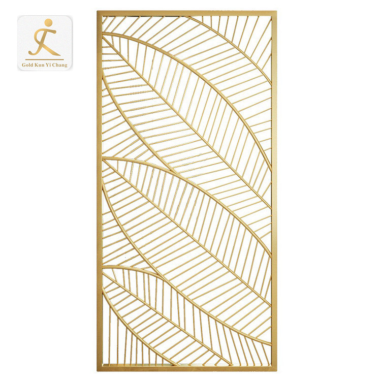 custom electroplated gold color decorative metal stainless steel room divider