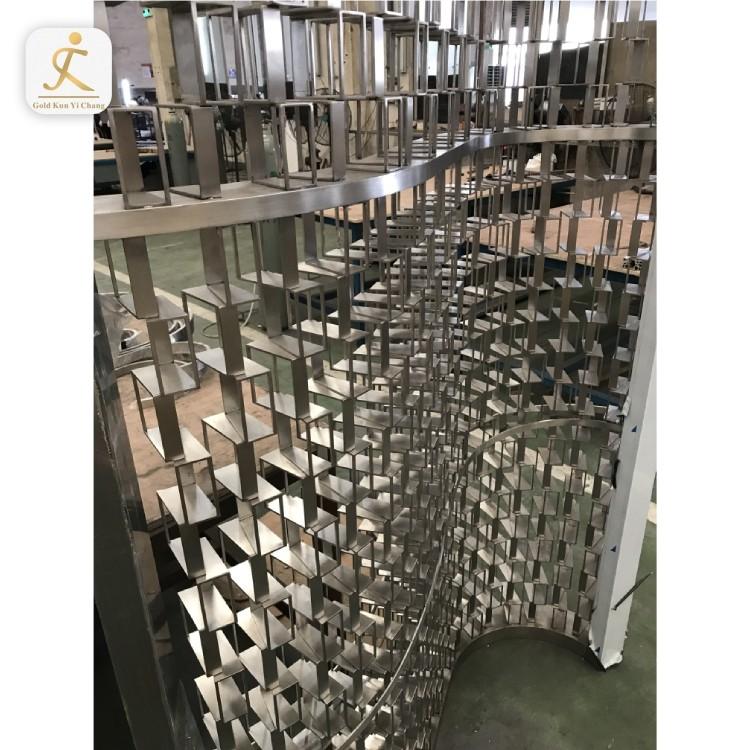 Stainless steel metal ornamental garden screens wave design ornate screen panels dividers for restaurants