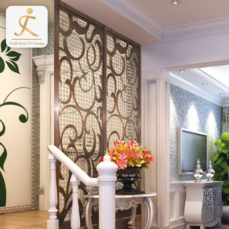laser cut decorative dual metal screens partition stainless steel interior wall mounted indian style waterproof room divider
