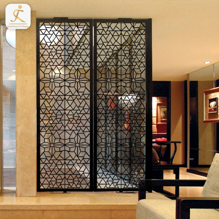 brushed black interior design decorative room divider for restaurant stainless steel vintage hotel room partition screen