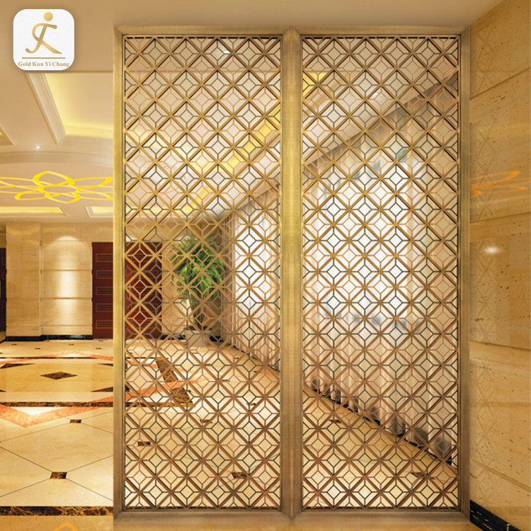 Chinese Screen Panel Metal Doors Interior Room Divider Floral Pattern Stainless Steel Laser Cut Sheet For Home