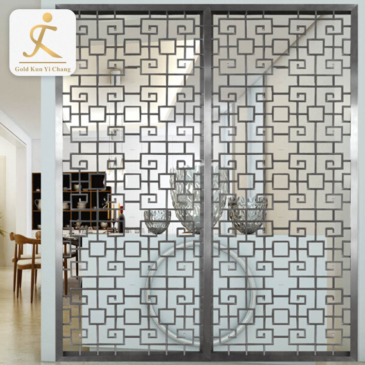 Stainless steel golden wall art divider screens fashionable room divider designs living room partition